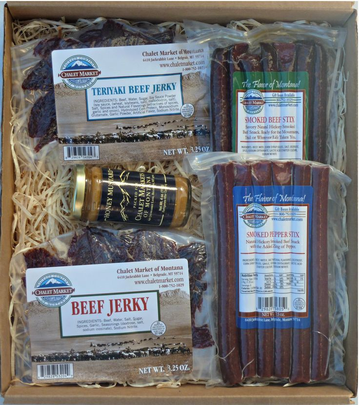 """The Easy Traveler Gift Box. This is a great gift box for """"on the go"""".  Jerky, snack stix and mustard...what's not to love?  Made in Montana."""