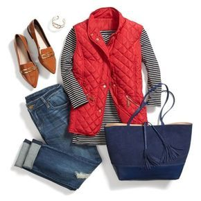 red puffer vest fall fashion- College girl outfit ideas http://www.justtrendygirls.com/college-girl-outfit-ideas/