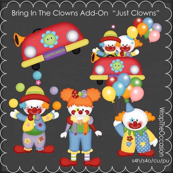 Adorable clown add-on kit to our scrapkit.