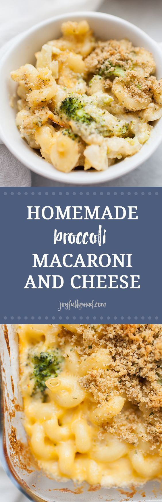 Homemade baked macaroni and cheese is a recipe every one should know how to make! If you enjoy eating mac and cheese, and who doesn't, this is a recipe you've got to try! It's perfect for weeknight dinners, bringing to a friend, or serving to the whole family! This homemade broccoli macaroni and cheese is made with corkscrew pasta, homemade cheese sauce, broccoli and finished with a bread crumb topping.  via @joyfullymad