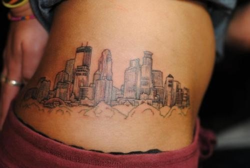 Minneapolis skyline tattoo weird placement but i love for Twin city tattoo