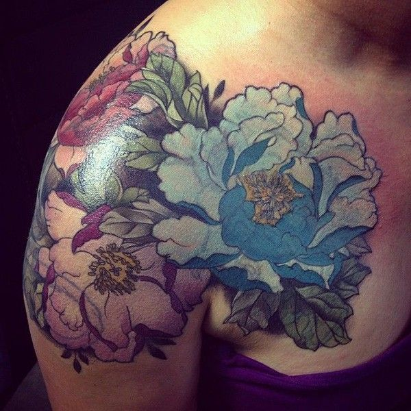 Peony tattoo on shoulder - 50 Peony Tattoo Designs and Meanings <3 ! I love the blue
