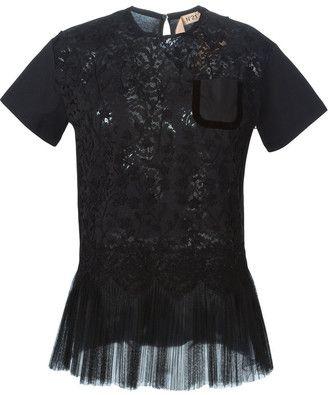 No.21 Lace Peplum Detail Shirt Black - Shop for women's Shirt -  Shirt