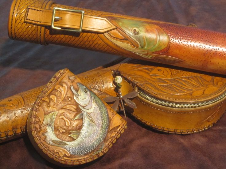 Fly Fishing Cases by Annie Margarita - FlyGirlLeather.com. Cowhide custom carved leather fishing stamped Western style