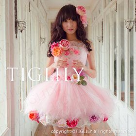 胸元の小花がとっても可憐なグリーンスカートのドレス。カラードレス(cb002)TIGLILY BASIC