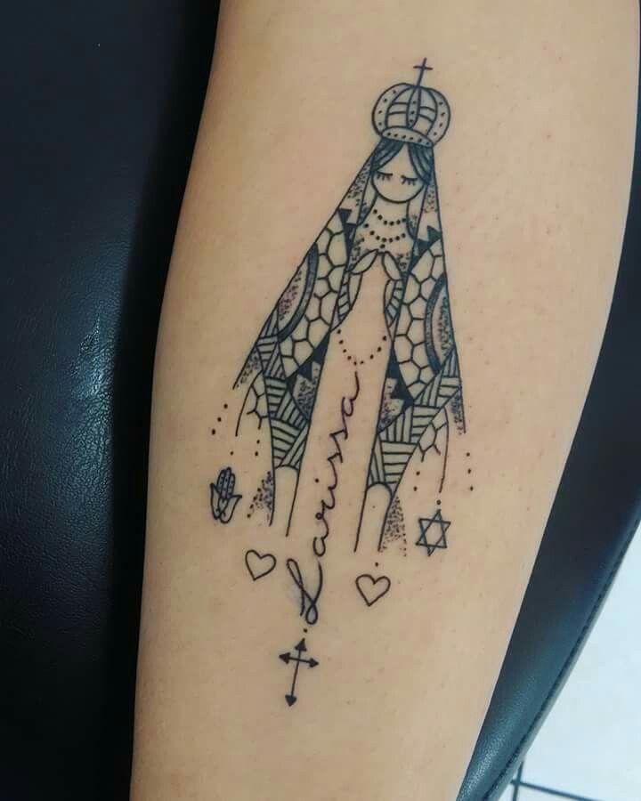 Tatuagem Feminina Delicada Nossa Senhora Aparecida Traços