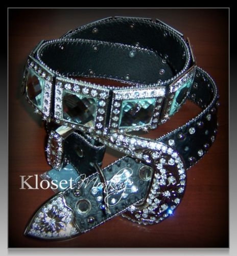 Sexy Black Genuine Leather Rhinestone Crystal Prism Western Bling Belt Small S | Kloset Monkey