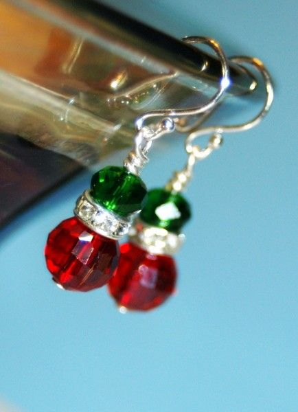 Christmas Earrings Red and Emerald Green Pierced Earrings with Swarovski Rondell Accents. $7.50, via Etsy.