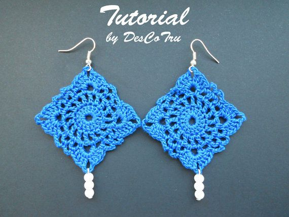 Crochet Earrings with Beads Tutorial  Do It Yourself  by DesCoTru