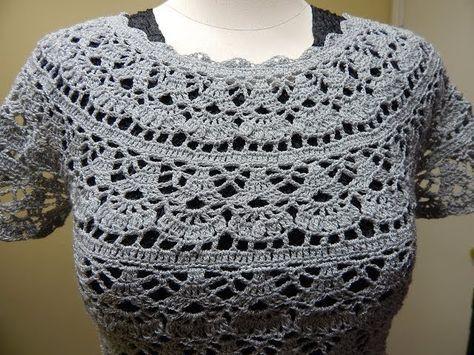 Blusa Gris Crochet parte 1 de 2