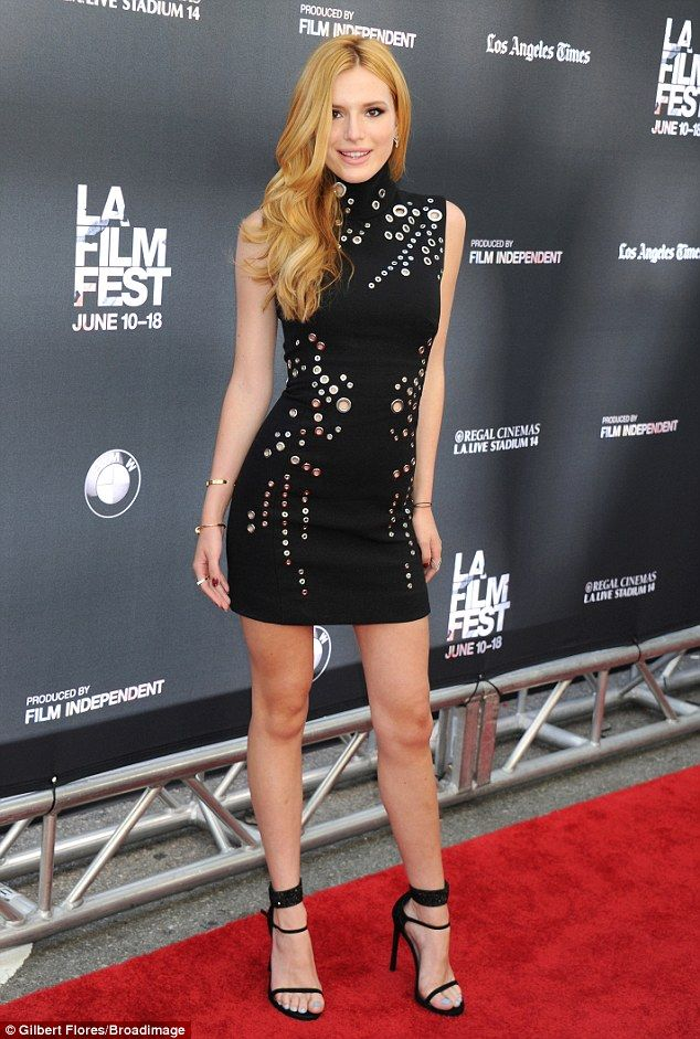 Back in black: Bella Thorne showed off her styling chops in a fitted LBD for the premiere of Scream at the Los Angeles Film Festival in Los Angeles on Sunday