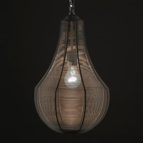 Bulb Shaped Hanging Lamp Made of Metal Wire