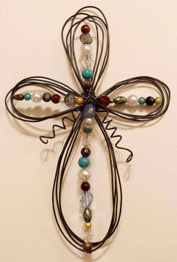 Beaded Wire Cross - Multicolor III
