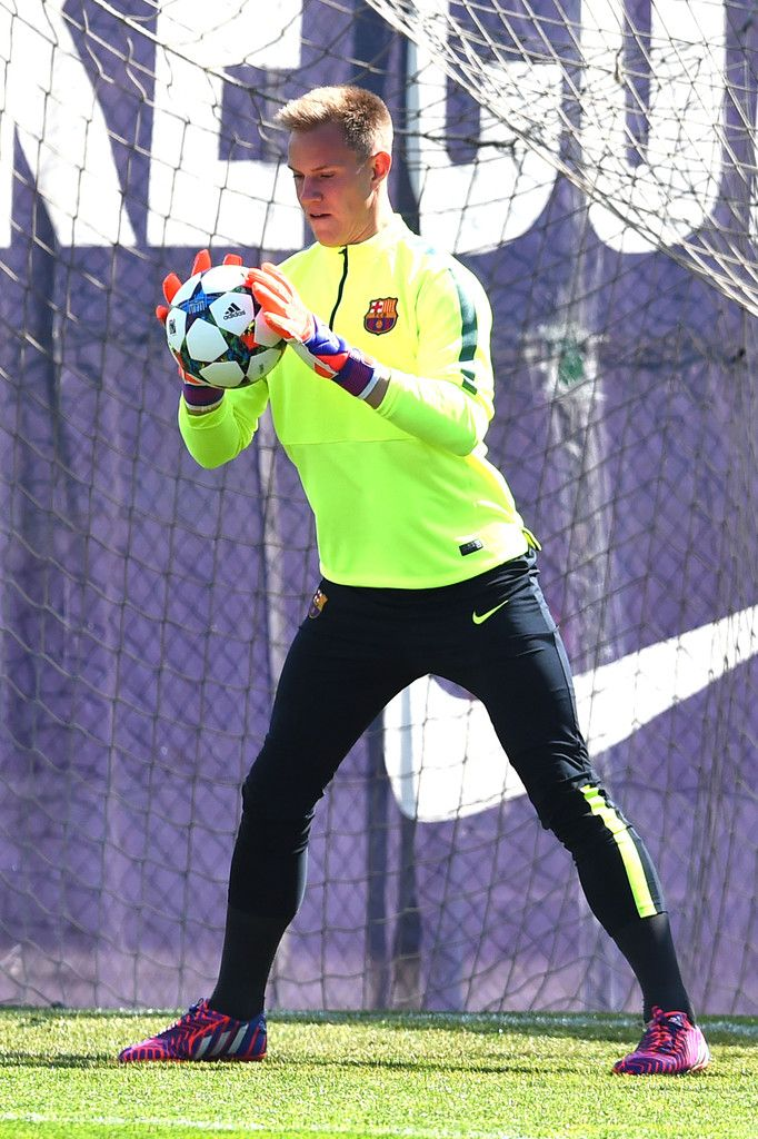 Marc-Andre Ter Stegen of FC Barcelona in action during a training session ahead of theid UEFA Champions League round of 16 match against Manchester City at Ciutat Esportiva on March 17, 2015 in Barcelona, Catalonia.