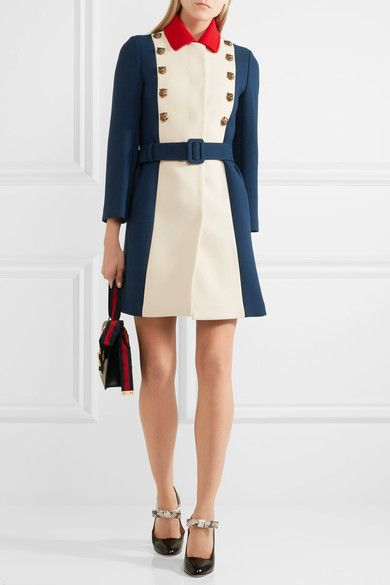 Navy, cream and black silk and wool-blend Concealed hook and zip fastening at back 66% silk, 34% wool; trim: 50% cotton, 50% viscose; lining: 71% acetate, 29% silk Dry clean Made in Italy