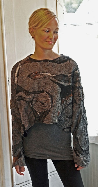 Bat sleeve sweater in nuno felt by Feltunik
