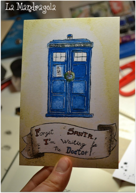 #Doctor Who #Tardis #Digital sheet #Chistmas #Postcard #DIY #etsy Mandragola, €1,50