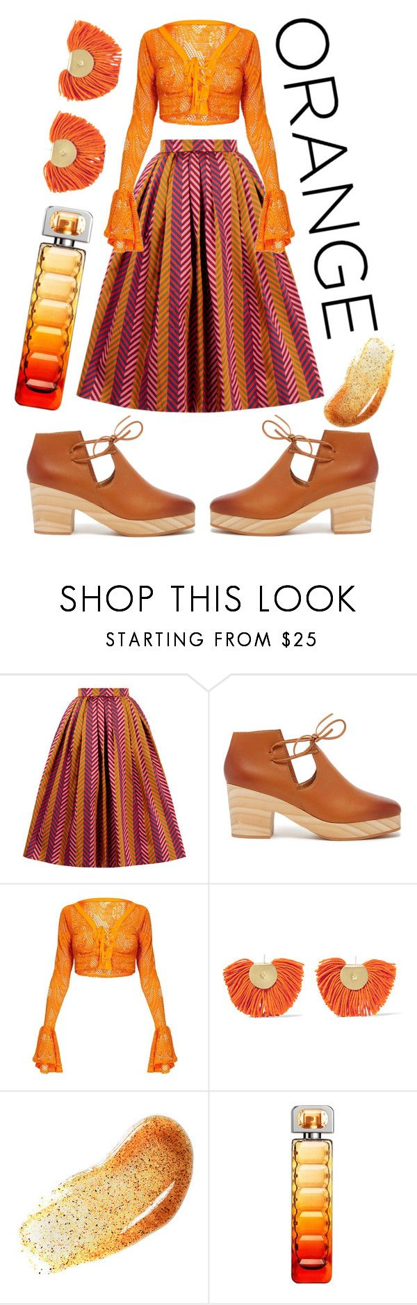 """all orange"" by lovedreamfashion ❤ liked on Polyvore featuring House of Holland, Kelsi Dagger Brooklyn, Katerina Makriyianni, HUGO and orange"