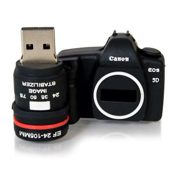 Like the Camera USB Drive, a miniature, finely detailed replica of a DSLR with the powerful file-holding ability of 8GB! www.onestopunishop.com