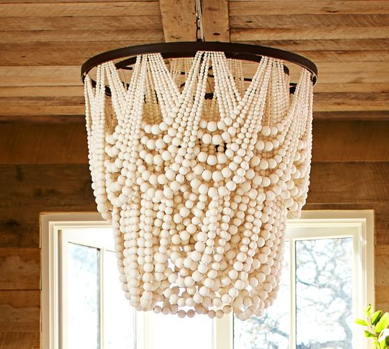 I could make this for the beach house....Amelia Indoor/Outdoor Wood Bead Chandelier | Pottery Barn