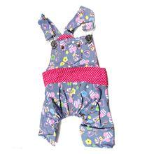sevimli hayvan köpek giysileri giyim çiçek deseni kot askı pantolon tulum tulum(China (Mainland))