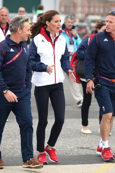 Catherine, Duchess of Cambridge, enjoys going sailing and meeting Ben Ainslie and the rest of Team Great Britain in Weymouth, England during the 2012 London Olympics, August 6, 2012.