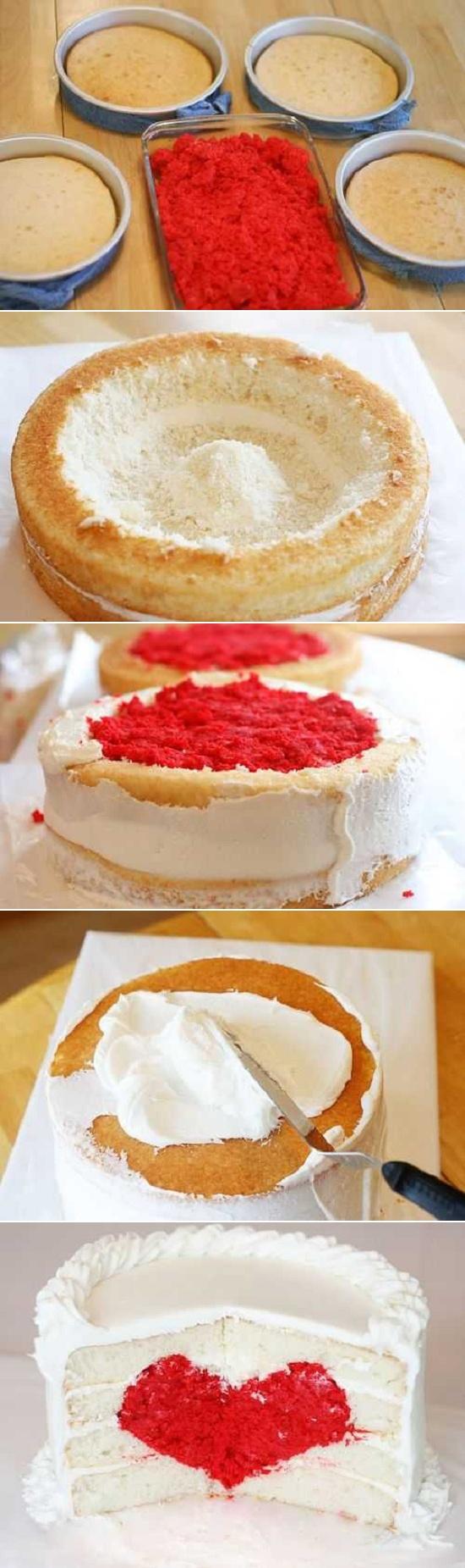 Red velvet suprise love heart suprise cupcake