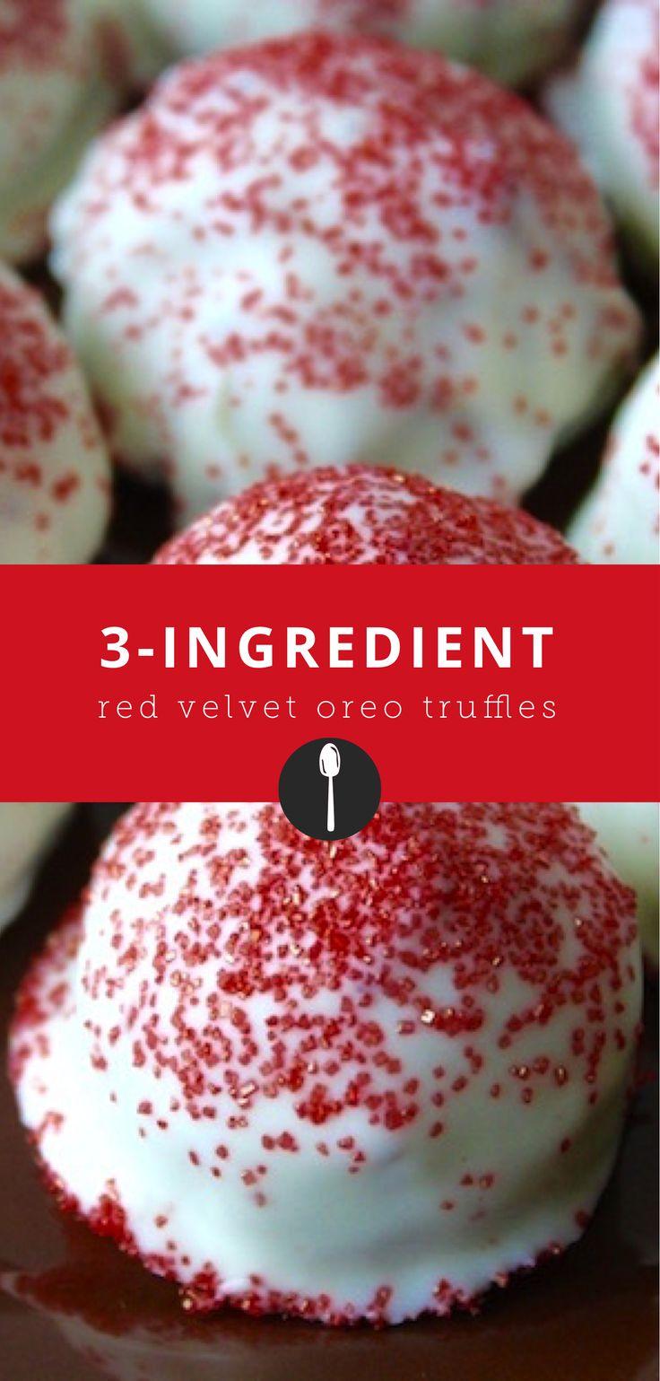 3-ingredient red velvet oreo truffles.