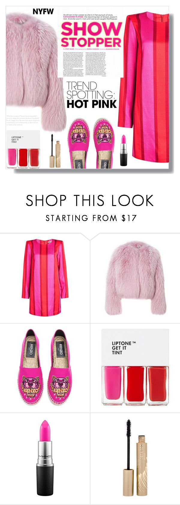 """""""Hot as Pink"""" by luna-jancek ❤ liked on Polyvore featuring Maggie Marilyn, Kenzo, TONYMOLY, MAC Cosmetics, Stila, contestentry and NYFWHotPink"""