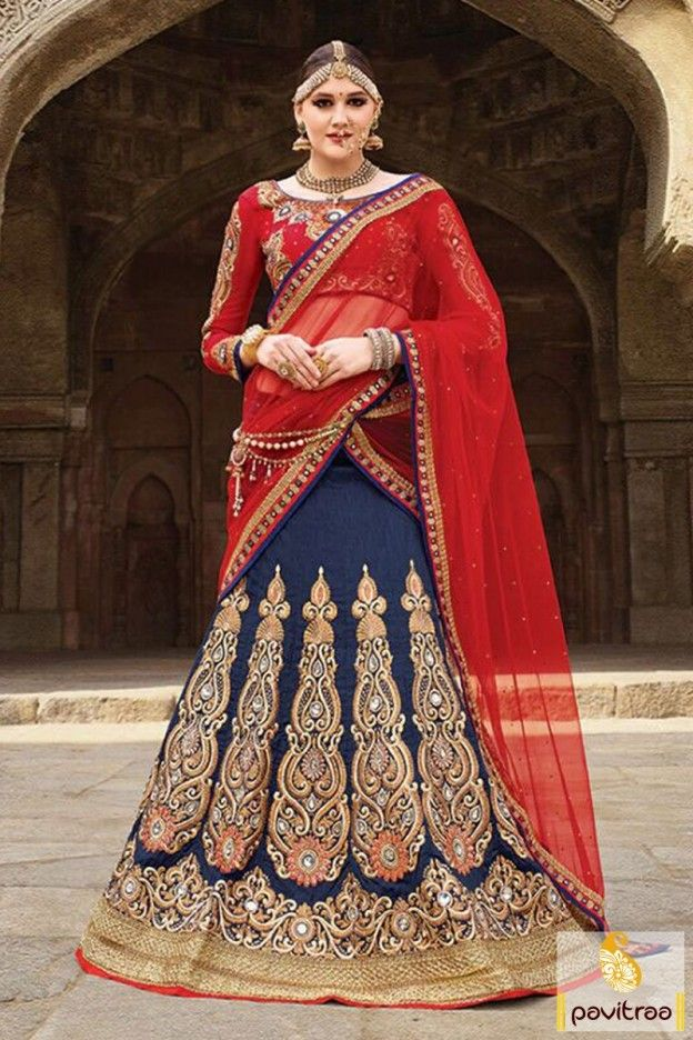 Wedding season special fashionable cobalt blue red silk heavy work designer lehengas for bride. A fancy bridal ghagra choli festooned with lovely gold patch and stone material. #lehengacholi, #lehengastylesaree, #chaniyacholi, #ghaghracholi, #weddingbridalcholi, #discountoffer, #festivalcholi, #marriagewear, #designerlehengacholiMore Product: http://www.pavitraa.in/store/lehenga-style/ Any Query: Call Us:+91-7698234040 E-mail: info@pavitraa.in