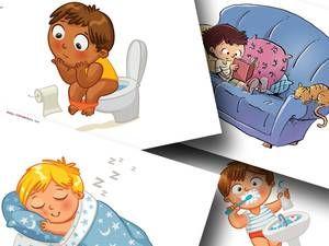 DaZ Tagesablauf Material zur Sprachförderung in der Grundschule - Bildkarten