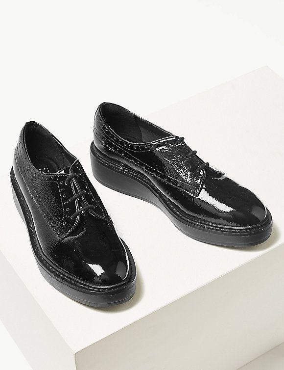 Leather Flatform Brogue Shoes   M\u0026S