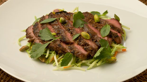 China Town Chicago Pistachio Crusted Hoisin Flank Steak With Stir-fried Broccoli Slaw by Art Smith | American Pistachio Growers