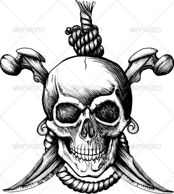 Jolly Roger Skull by sharpner Original Jolly Rogger Skull with two knifes, bones and rope for hanging