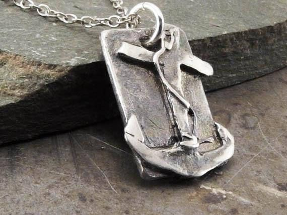 Faith Hope Love Anchor Sterling Silver Pendant Necklace