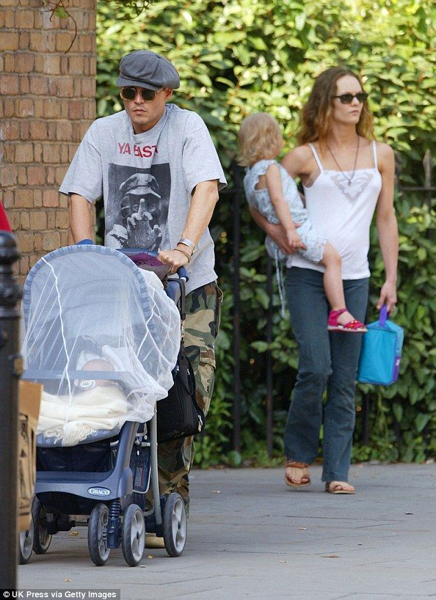 Happier times: Johnny Depp with Vanessa and babyLily Rose in London back in 2002