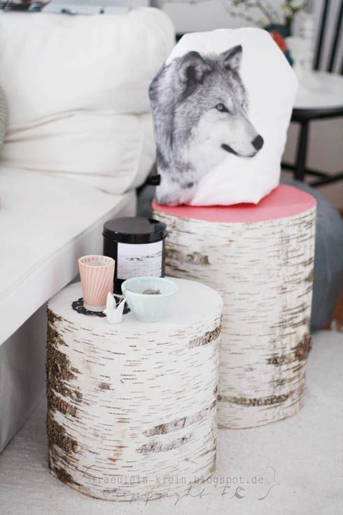 Miss Small: DIY Tables real birch or cover in birch for the bedroom