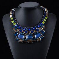 2015 yeni tasarım tıknaz zincir halat mavi elmas deyimi kolye kadın moda takı gerdanlık bib yaka kolye kolye
