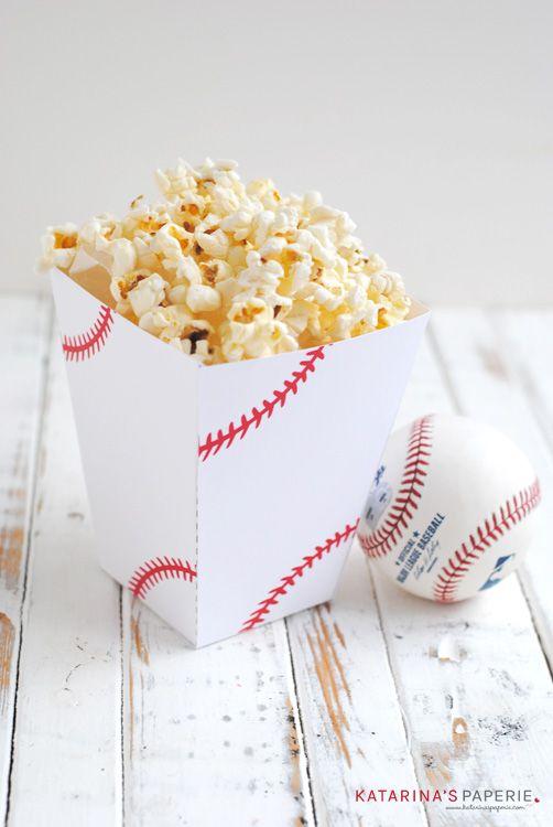 Free printable baseball popcorn box by Katarina's Paperie