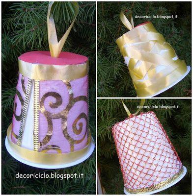 Decorazioni per lalbero di Natale: con vasetti dello yogurt, nastri e cartoncino - decoriciclo