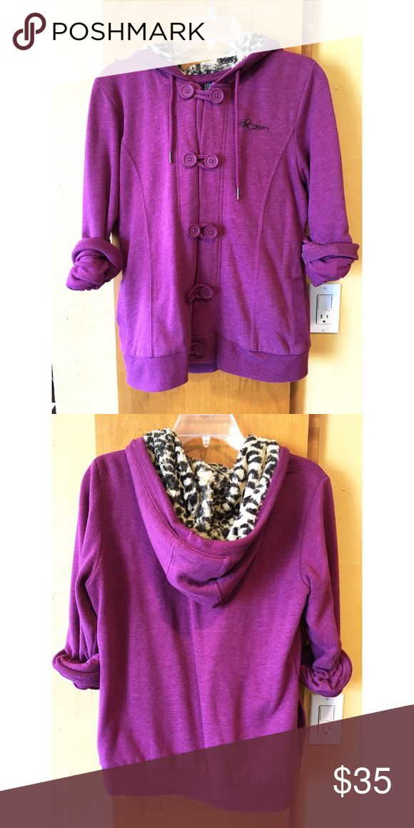 Volcom Women's Fullzip Hoodie Purple Volcom Women's Fullzip Hoodie. Leopard print fur hood. Button up. Volcom Tops Sweatshirts & Hoodies