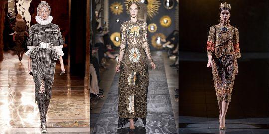 """Royalty - Είναι αυτό που λέμε """"η Άρτα και τα Γιάννενα"""" σε ένα outfit! Βυζαντινές επιρροές, βαριά prints, ογκώδη και πλούσια αξεσουάρ, περίτεχνα και ακριβά υφάσματα, χρυσό  ασημί και κόκκινο απαρτίζουν αυτήν την τάση του φετινού χειμώνα. Μεγάλοι οίκοι όπως AlexanderMcQueen, Dolce&Gabbana, Valentino και πολλοί άλλοι την εκπροσώπησαν επάξια! Αναμφίβολα άλλη μία από τις πιο επιβλητικές και υπερβολικές τάσεις αυτής της σεζόν αλλά συγχρόνως εντυπωσιακή και καλλιτεχνική! Be the Queen!"""