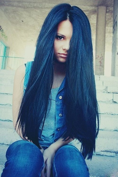 beautiful color blue black hair hair