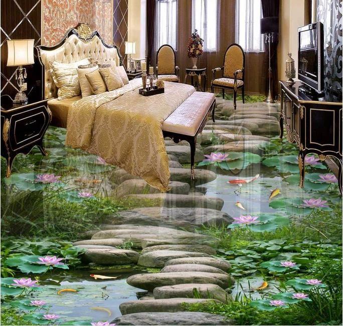 3d Boden Wandmalereien Pvc Tapete Benutzerdefinierte 3d Bodenfliesen  Wasserdichte Tapete Für Badezimmer Lotus Fischteich Bodenfliesen