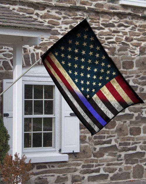 Red White & Blue American Flag Thin Blue Line Design Decorative House Flag