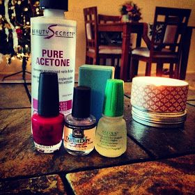 """gel"" manicure. Lasts as well as a shellac manicure and can use any nail polish color you want."
