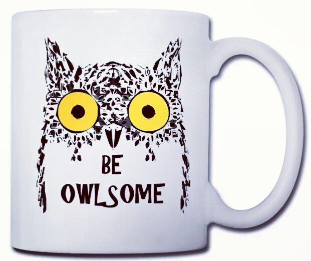 Be owlsome!  Consigue esta taza y otros productos con el mismo diseño en nuestra tienda online.  AHORA TIENES UN 15% DE DESCUENTO.  Get this cup and other products with this design in our online shop.  NOW YOU HAVE A 15% DISCOUNT.    #Owl #Buho #designer #design #taza #tazas #cup #cups #fun #funny #awesome #arte #art #graphic #graphicdesign #animals #animal #lol #extrange #graphicart  #cartoon #freak #geek #alternative #pic #picoftheday #spreadshirt  #GeeksWear
