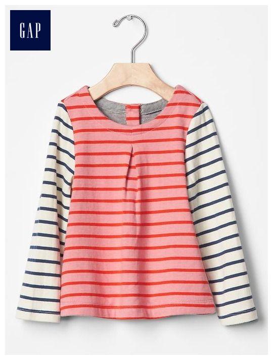 Colorblock stripe double-knit pleat tee
