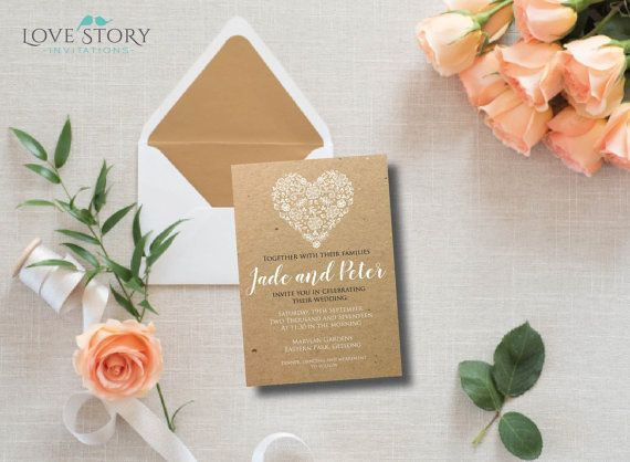 DIY Printable ~ Heart Invitation ~ Kraft Invitation ~ White Heart ~ Rustic Invitation ~ White Printing ~ Wedding Invitation ~ Print your own