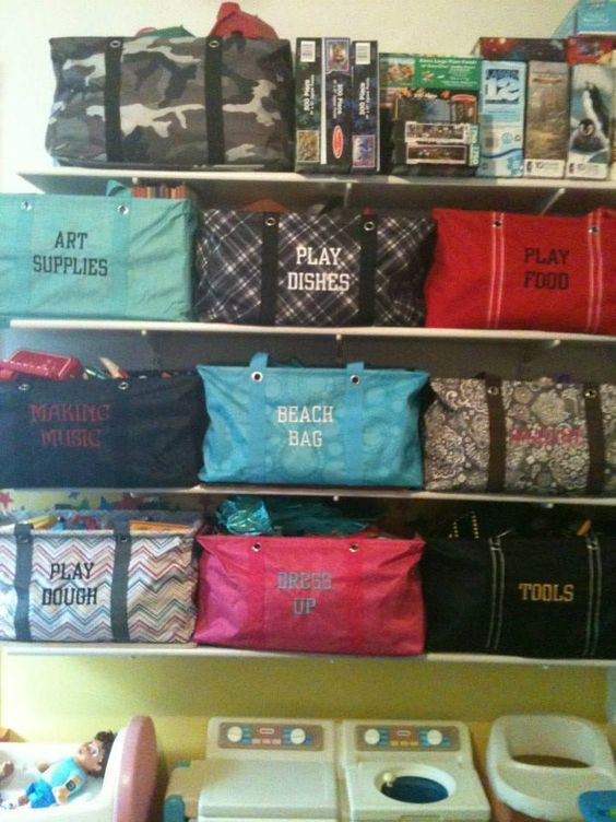 Organizational goals! Check out all the totes with the names of its contents. So cool. www.itsrainingbags.com